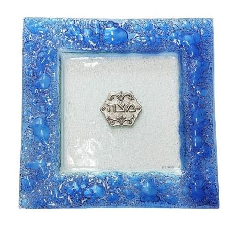 Prato para matzá de vidro azul