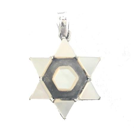 Pingente estrela de David de prata madrepérola