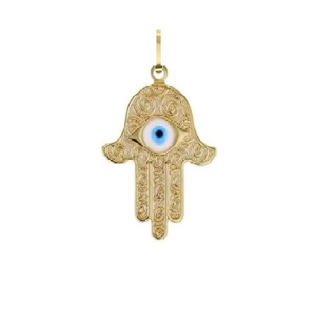 Pingente hamsa com olho decorada dourada grande
