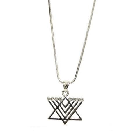 Corrente e pingente Estrela de David Chanukiá com zircônias transparentes