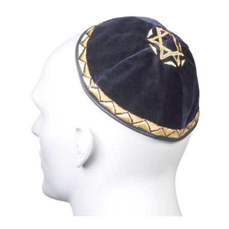 Kipá de Veludo Azul Marinho com Estrela de David grande - com bordado dourado