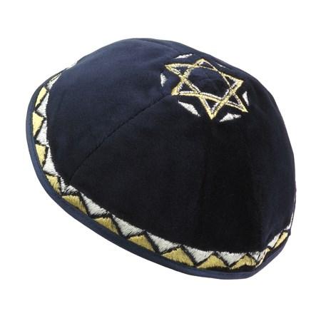 Kipá de Veludo Azul Marinho com Estrela de David grande - com bordado em dourado e prateado