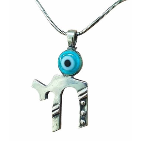Corrente pingente de prata Chai com olho