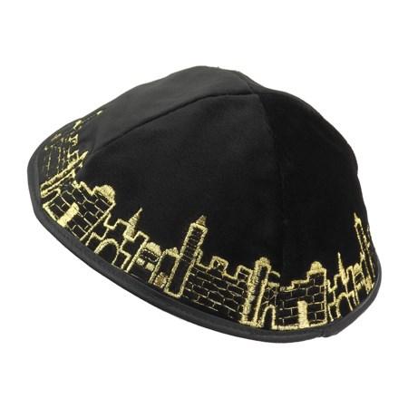 Kipá de Veludo Preta Jerusalém - com bordado em dourada