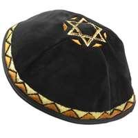 Kipá de Veludo Preto com Estrela de David grande - com bordado em dourado e prateado