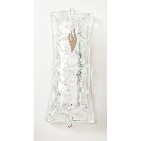 Mezuzá artesanal de vidro (vidro) - transparente