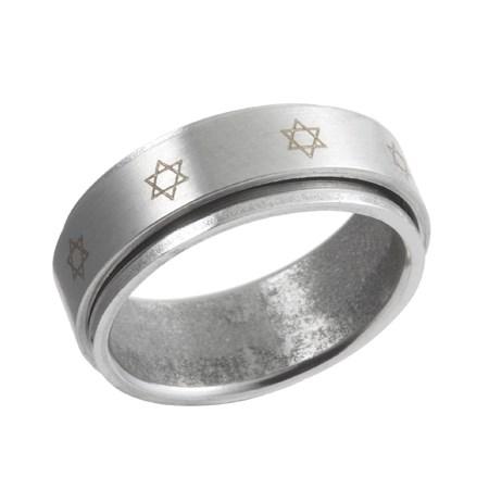 Anel giratório aço estrelas de David - Tamanho 28