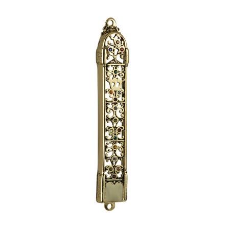 Mezuzá Dourada Vazada com Pedrinhas (Metal)
