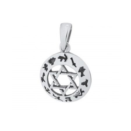 Pingente estrela de David de prata com símbolos
