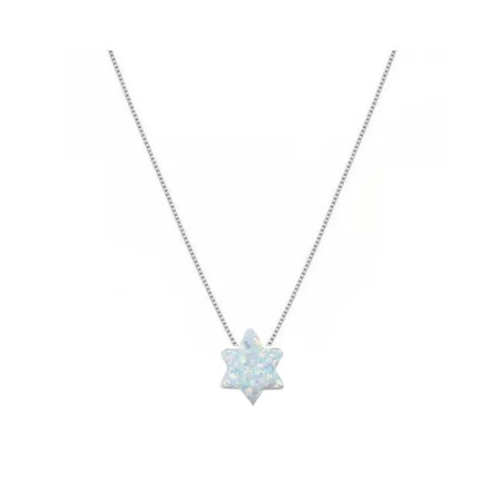 Corrente e pingente pedra opalit branca em forma de estrela