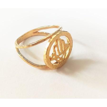 Anel dourado com hamsa