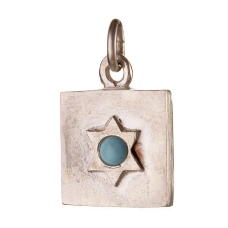 Pingente Plaquinha Estrela de David com pedrinha azul