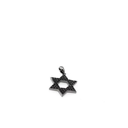 Pingente estrela de David prata com zircônias pretas