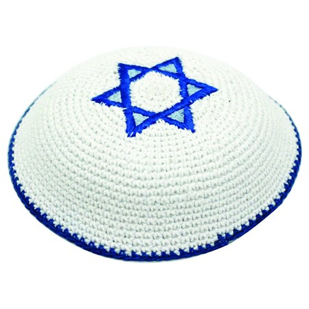 Kipá de crochê branca com estrela de David - Bordado Azul