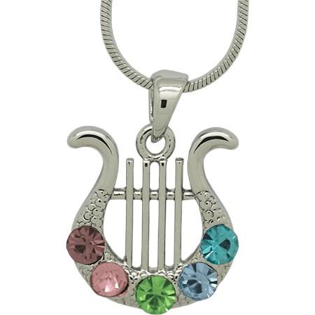Corrente e pingente Harpa de David - Prateado