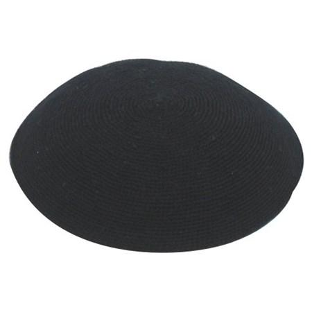 Kipá de crochê feita a mão preta 12 cm