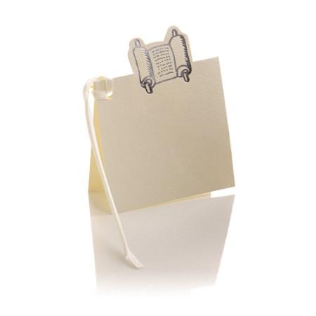 Pacote 10 mini cartões - Torá - Branco com Prateado