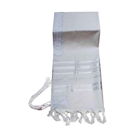 Talit de Lã com Listras Brancas - Tamanho 60 listras prateadas