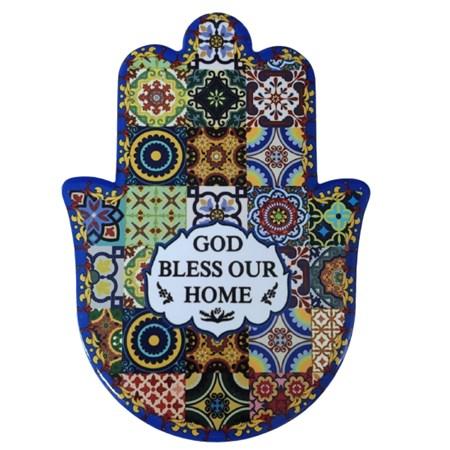 Hamsa de cerâmica colorida - God bless our home