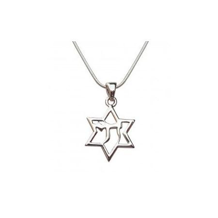 Corrente e pingente Estrela de David com Chai - Prateado