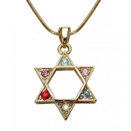 Corrente e pingente Estrela de David com pedras coloridas - Dourado