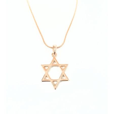 Corrente e pingente Estrela de David pequena - Dourado