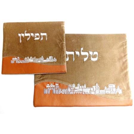Conjunto Capas deTalit  e Tefilin de veludo Jerusalém