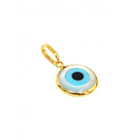 Mini pingente olho grego de ouro com Madre Pérola