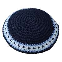 Kipá de crochê ponto médio colorida - Azul borda branca e lilás