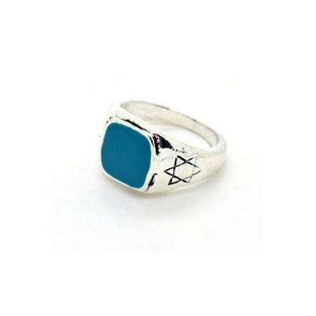 Anel com Estrela de David na Laterais - Tam. 21 - Azul Turquesa