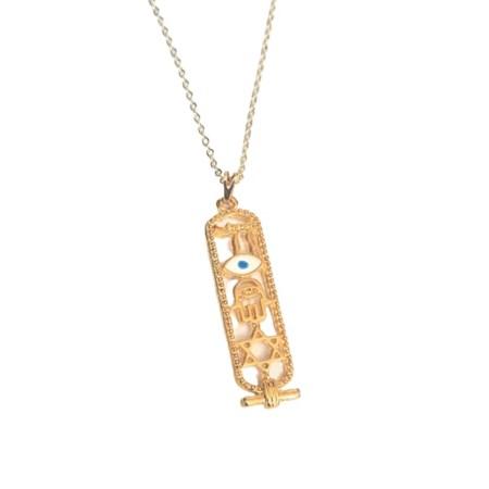 Corrente com pingente mezuzá vazada com símbolos - Dourada