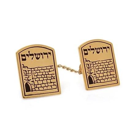 Prendedor de Talit Muro das Lamentações - Jerusalém - Dourado