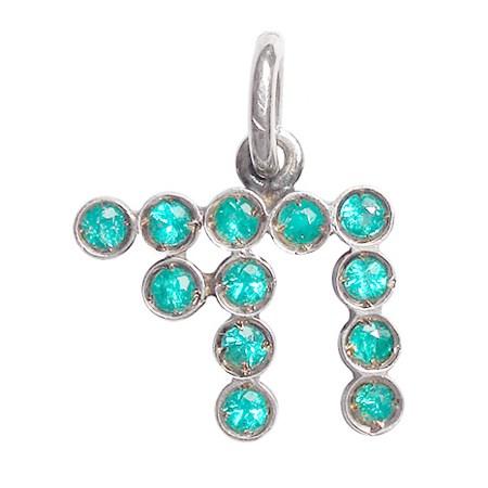 Pingente prata Chai com pedras (Safira Amarela)