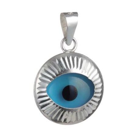 Pingente olho grego de prata móvel
