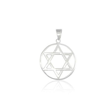 Pingente de prata estrela de David circulo - pequena