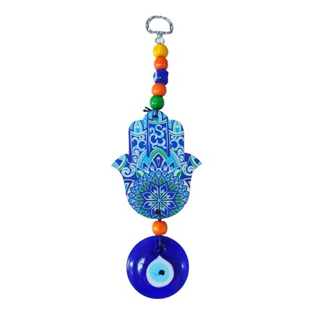 Mobile hamsa de madeira mandala azul