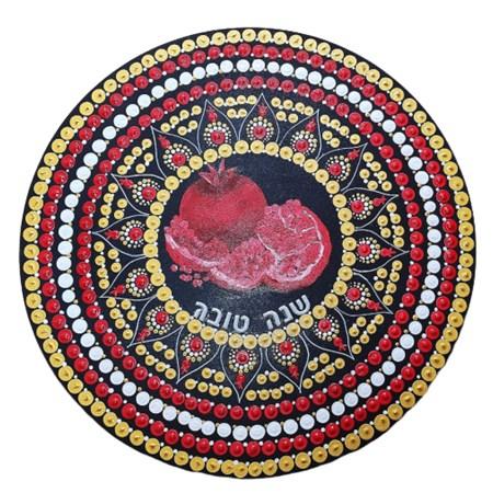 Prato de madeira para Rosh Hashana