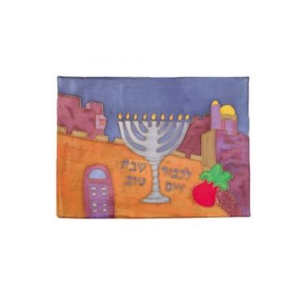 Cobertura para chalá de seda pintado Chanukiá Jerusalém (EMANUEL)