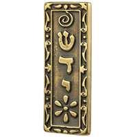 Mezuzá dourada carro flor