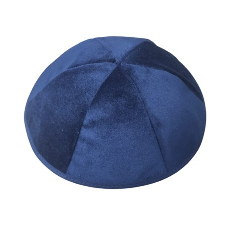 Kipá veludo azul seis gomos - Tamanho 7