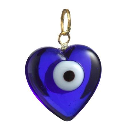 Pingente coração azul com olhinho