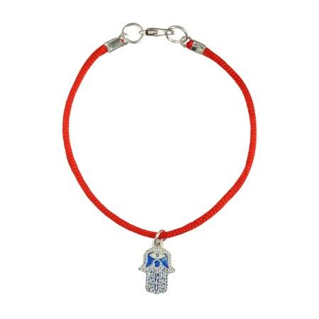 Pulseira fio vermelho hamsa azul com branco