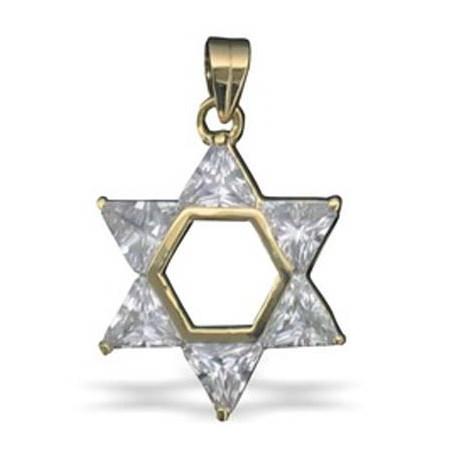 Pingente Estrela de David dourada com Pedras - Transparente