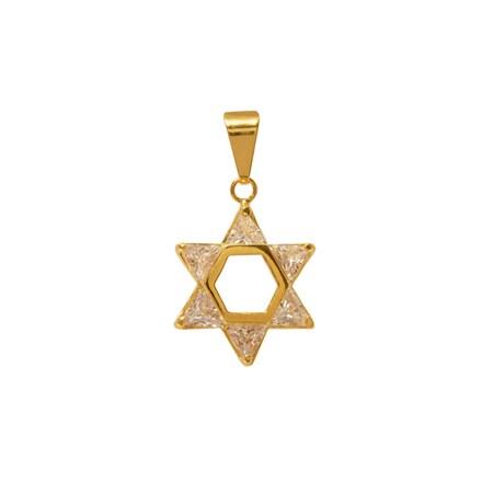 Pingente estrela de David dourada com pedra transparentes