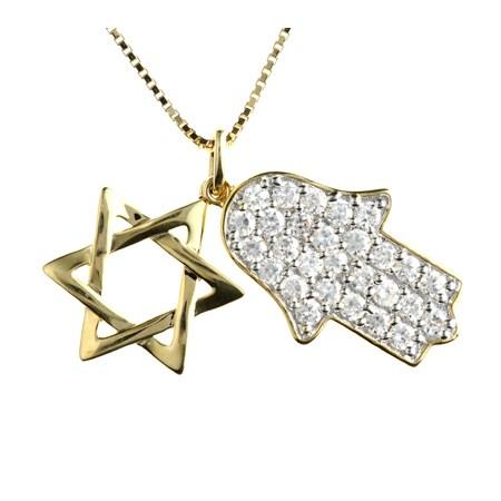Corrente hamsa e Estrela de David  com zircônia - Dourado