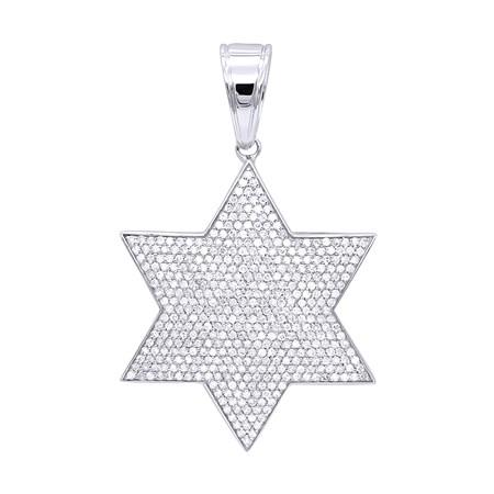Pingente estrela de David prata com zircônias brancas - grande
