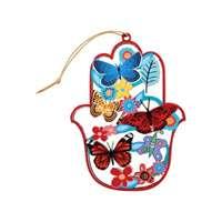 Hamsa de madeira vermelha borboletas