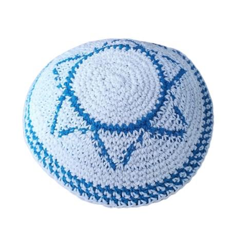 Kipá de crochê estrela de David ponto médio - Azul Claro
