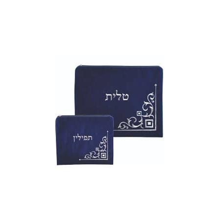 Conjunto Capas deTalit e Tefilin Veludo Azul Royal