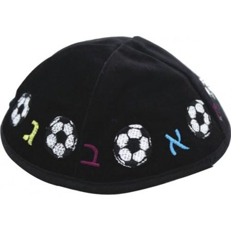 Kipá de veludo com bola de futebol - Alef Bet - Azul Marinho